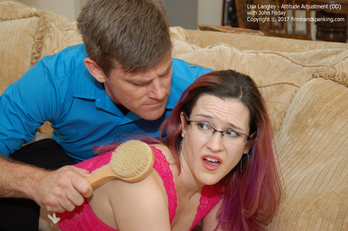 attitude dd024 m - firmhandspanking - MP4/HD - Attitude Adjustment DD/Bullying beauty Lisa Langley gets a wooden hairbrush spanking, bottom bare!