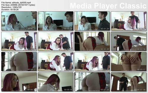 thumbs20180111102341 m - firmhandspanking – MP4/HD – Lisa Langley - Attitude Adjustment DJ/Superglue prank gets Lisa Langley's bare bottom a 12-stroke caning