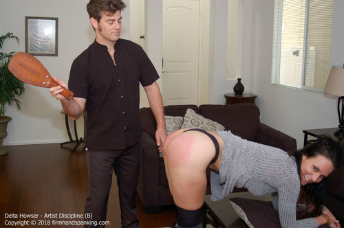 artist b015 m - firmhandspanking – MP4/HD – Delta Howser - Artist Discipline B/Motivation means a spanking for artist Delta Howser, peachy bottom bared