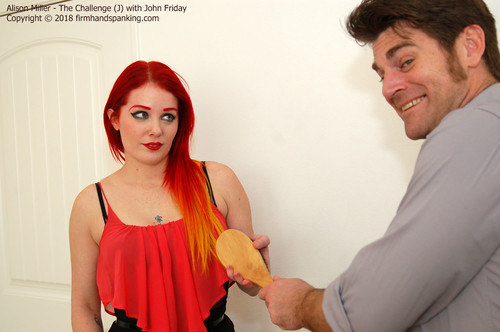 firmhandspanking – MP4/HD – Alison Miller – The Challenge J/The dreaded wooden hairbrush – Alison Miller accepts The Challenge!