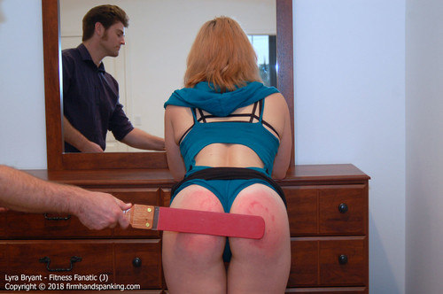 fanatic j015 m - firmhandspanking – MP4/HD – Lyra Bryant - Fitness Fanatic J/Series finale paddling turns Lyra Bryant's bouncing bottom a stinging red