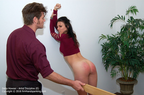 artist e015 m - firmhandspanking – MP4/HD – Delta Howser - Artist Discipline E/Spanked with a wooden paddle: what will sultry brunette Delta Howser learn?