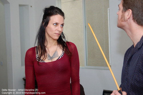 artist f001 m - firmhandspanking - MP4/HD - Delta Howser - Artist Discipline F/The whistle of a cane before it lands on her bare butt is 'scary' says Delta Howser | MAY. 23, 18