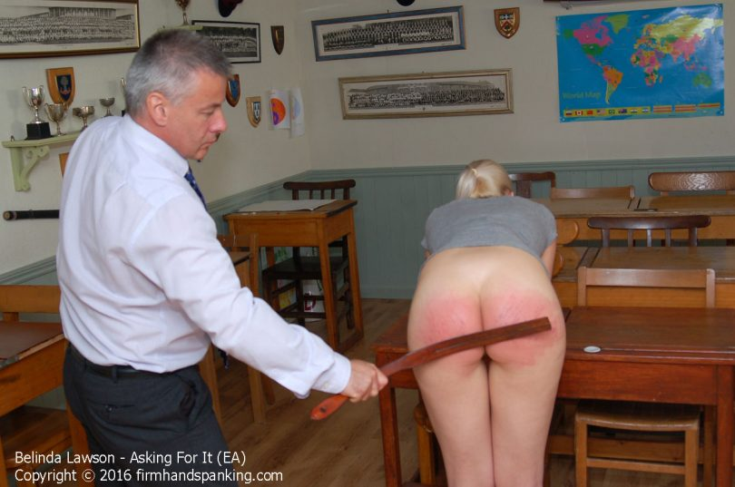 asking eb011 810x537 - Firm Hand Spanking – MP4/HD – Belinda Lawson - Asking For It - EB/Belinda's bare bottom bounces from the strap and dreaded stinging slipper