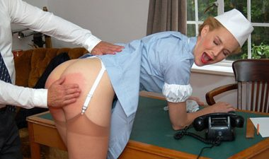 doctor c c4s 380x225 - Firm Hand Spanking – MP4/HD – Amelia Rutherford - Doctor's Orders - E/No panties at work? Amelia Rutherford's bare bottom feels the strap! | Dec. 3 2018