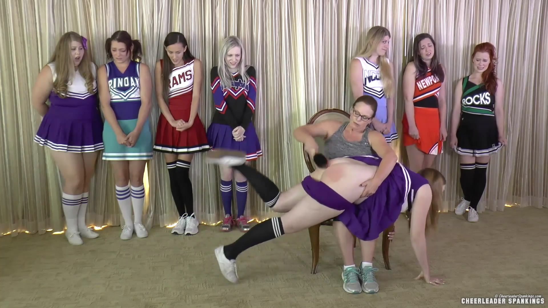 Cheerleader Spankings – MP4/Full HD – Adriana Evans, Alex Reynolds, Cassidy Lau, Christy Cutie, Harly Havik, Michael Masterson, Miss Elizabeth, Stevie Rose, Violet October – Cheer Camp Year Two –clip 01