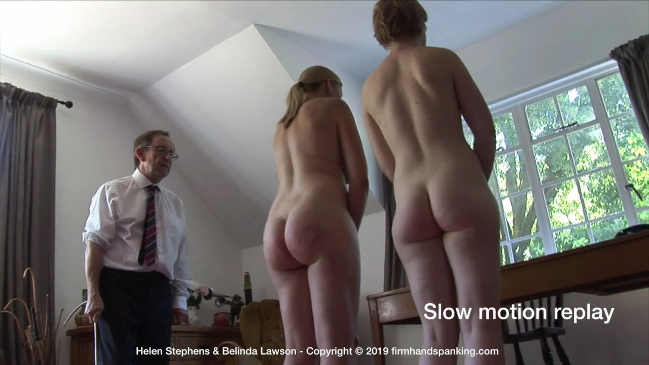 Firm Hand Spanking – MP4/HD – Belinda Lawson and Helen Stephens – Marks Out of Ten ZR/Touching toes or grabbing ankles for a naked caning: Helen and Belinda striped! | Jan 30, 2019