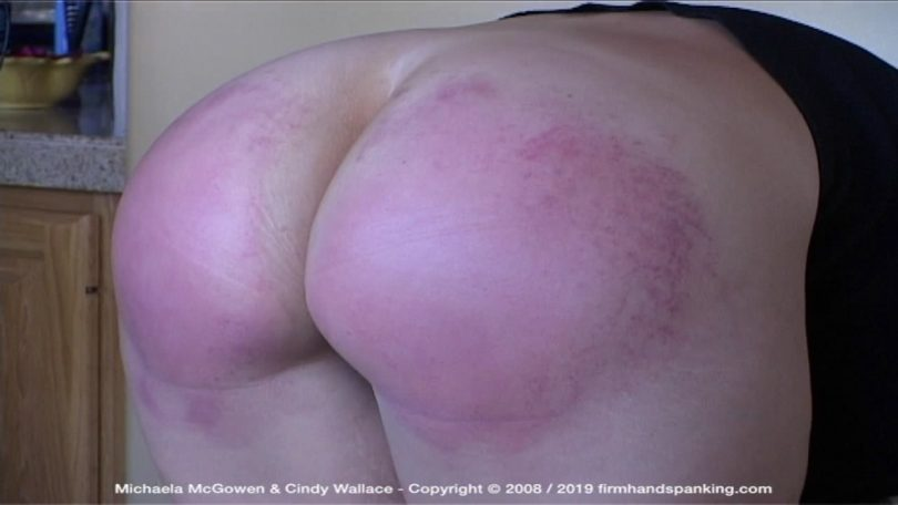 snapshot20190511131144 810x456 - Firm Hand Spanking – MP4/HD – Michaela McGowen - Houseguest from Hell - Y/Michaela McGowen caned on tight pants and bare bottom, touching her toes | May 10, 2019