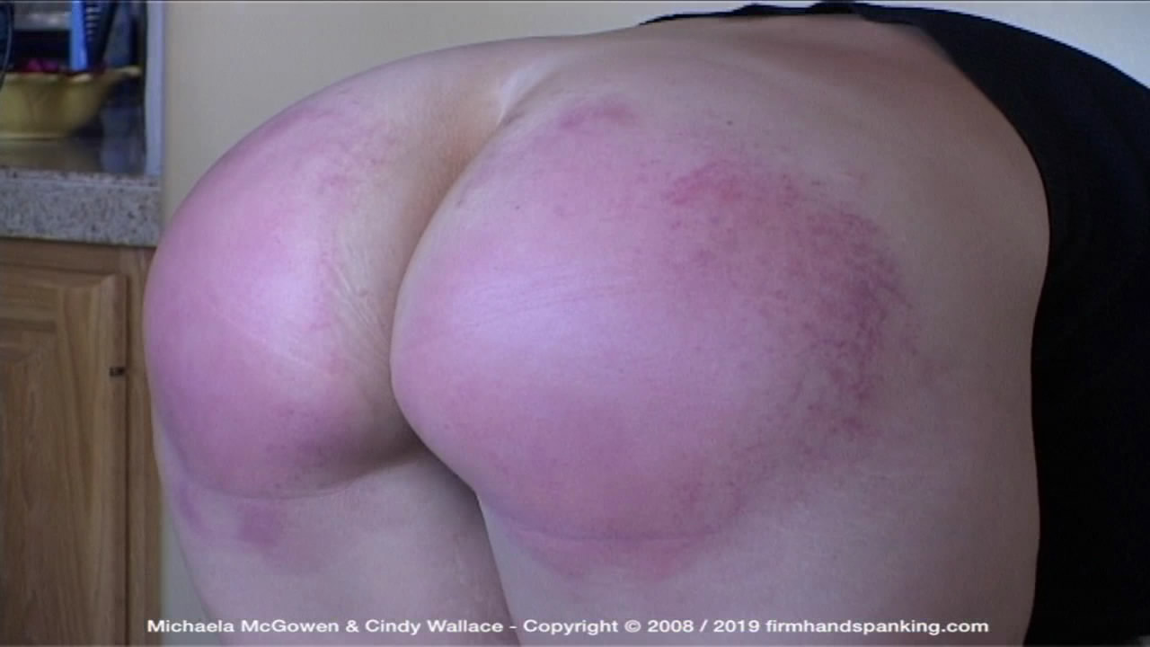 Firm Hand Spanking – MP4/HD – Michaela McGowen – Houseguest from Hell – Y/Michaela McGowen caned on tight pants and bare bottom, touching her toes | May 10, 2019