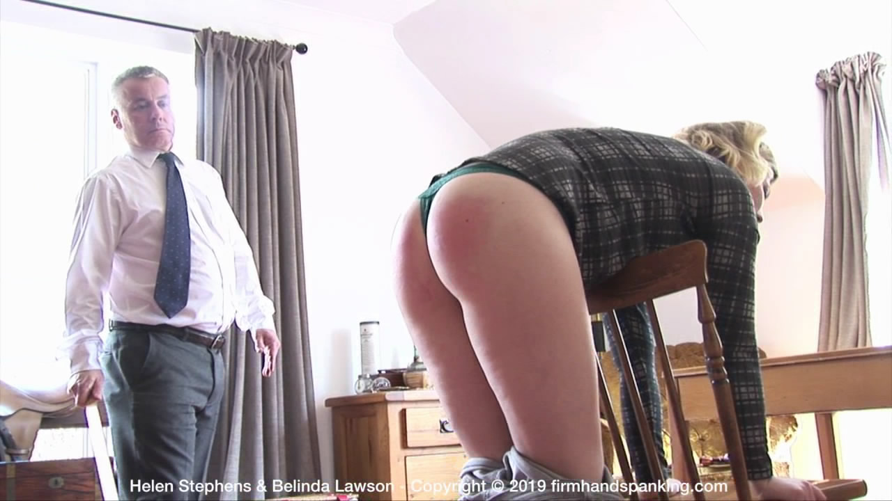 Helen Stephens – The Institute – H/Bent over a chair in skin tight jeans, then bare bottom, Helen braves the yard stick