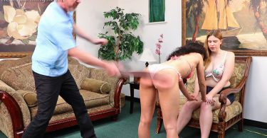 15661 003 375x195 - Real Strappings – RM/HD – Riley: Spanked with a Belt Over her Skirt | September 02, 2019