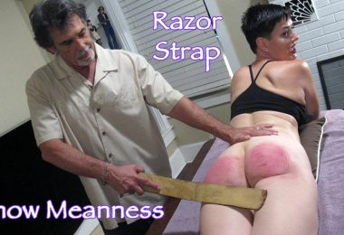 snow mean6 main 380x260 - Dallas Spanks Hard – MP4/SD –Snow Meanness - Razor Strap