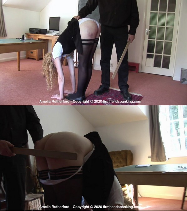 Firm Hand Spanking – MP4/HD – Amelia Rutherford – The Facility – J/Amelia stripped for a hand strapping and yard-stick across her bottom