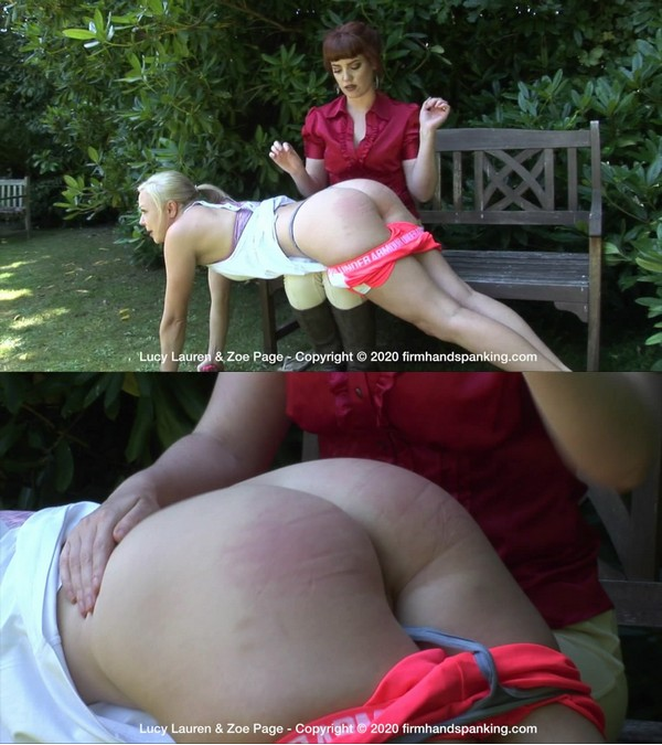 Firm Hand Spanking – MP4/HD – Lucy Lauren,Zoe Page – Racing Stables Discipline – BM/Lucy Lauren runs laps in a garden before she's spanked bare with a flip flop | Mar 25, 2020