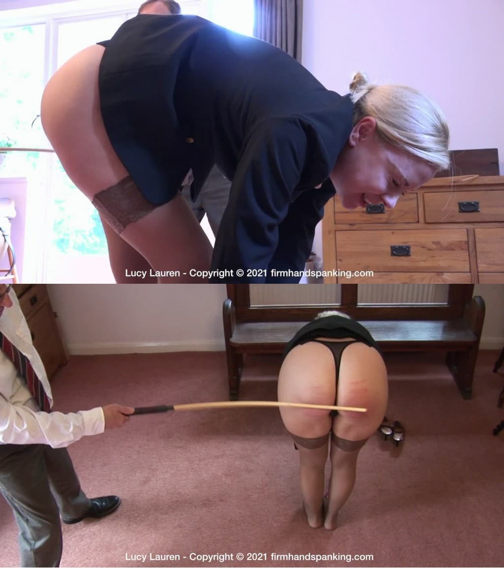 2021 01 07 124710 1 - Firm Hand Spanking – MP4/HD – Lucy Lauren - Spanked In Uniform - O/Bent-over to Get her Feet, Lucy Lauren Believes That the Sting of This cane over bare skin (Release date: Jan. 06, 2020)
