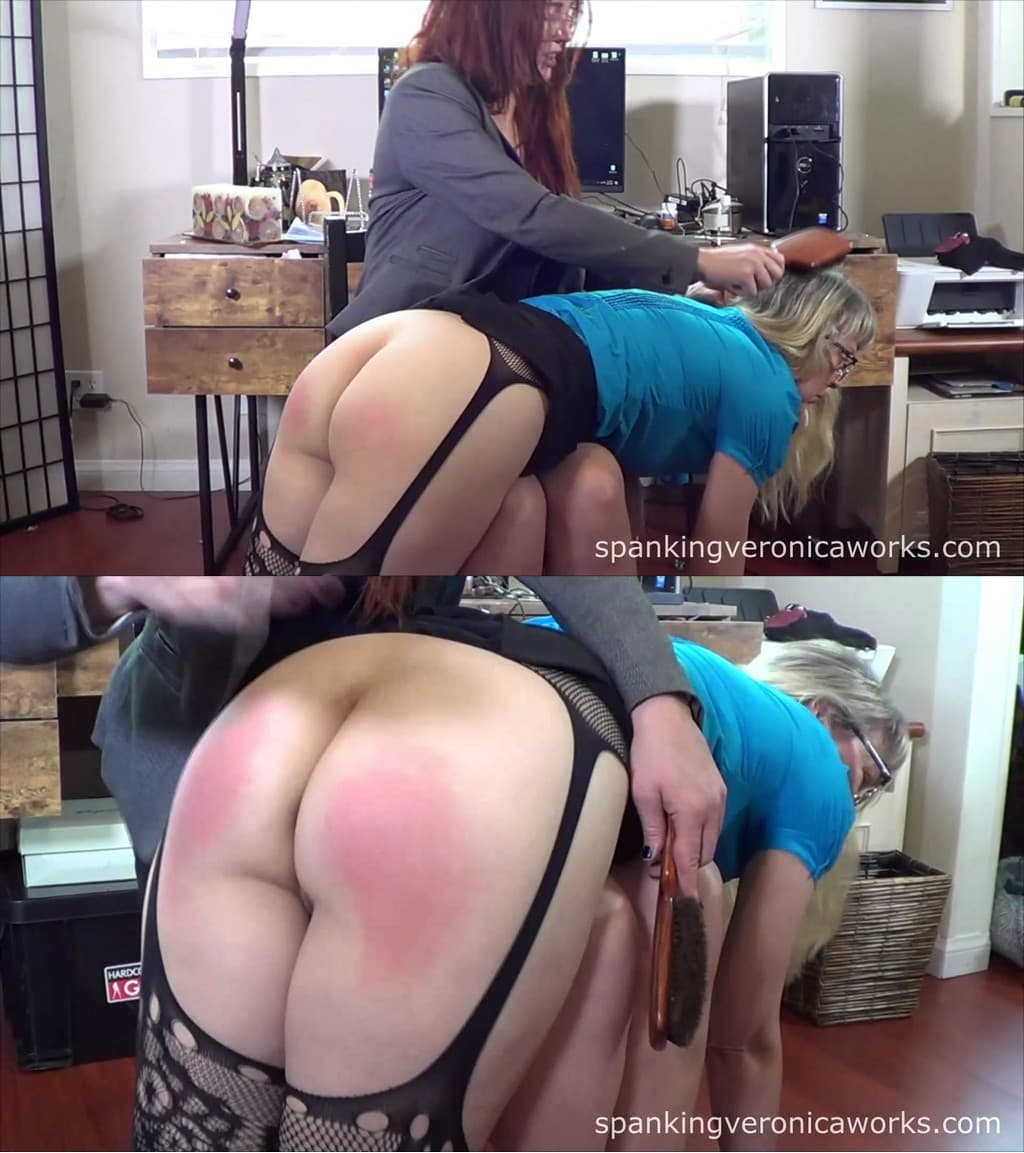 2021 02 18 084800 1 - Spanking Veronica Works – MP4/Full HD – Veronica Ricci, Clare Fonda - Clare Spanked At Office