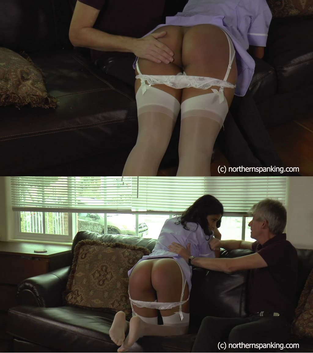 Northern Spanking – MP4/Full HD – Cleo Divine, Paul Kennedy – Spanking for Nurse Cleo – 1080HD – belt whipping