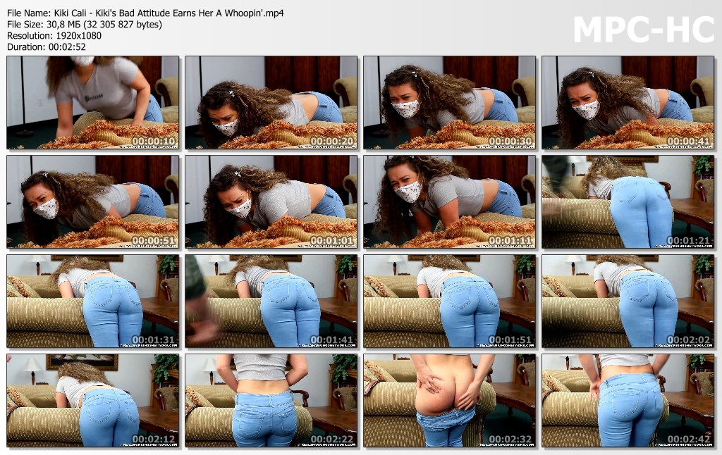 Kiki Cali Kikis Bad Attitude Earns Her A Whoopin.mp4 thumbs - Real Spankings – MP4/Full HD – Kiki Cali - Kiki's Bad Attitude Earns Her A Whoopin'