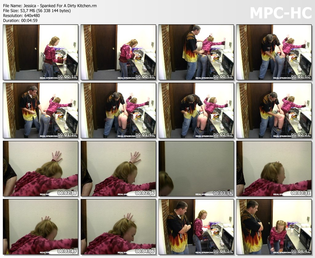 Jessica Spanked For A Dirty Kitchen.rm thumbs - Spanking Teen Jessica – RM/SD – Jessica - Spanked For A Dirty Kitchen