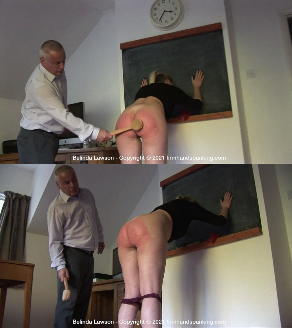 Firm Hand Spanking – MP4/HD – Belinda Lawson – Leather Princess – P/Her curvaceous, jutting bottom bared, Belinda's cheeks burn from a bath brush (Release date: May 21, 2021)