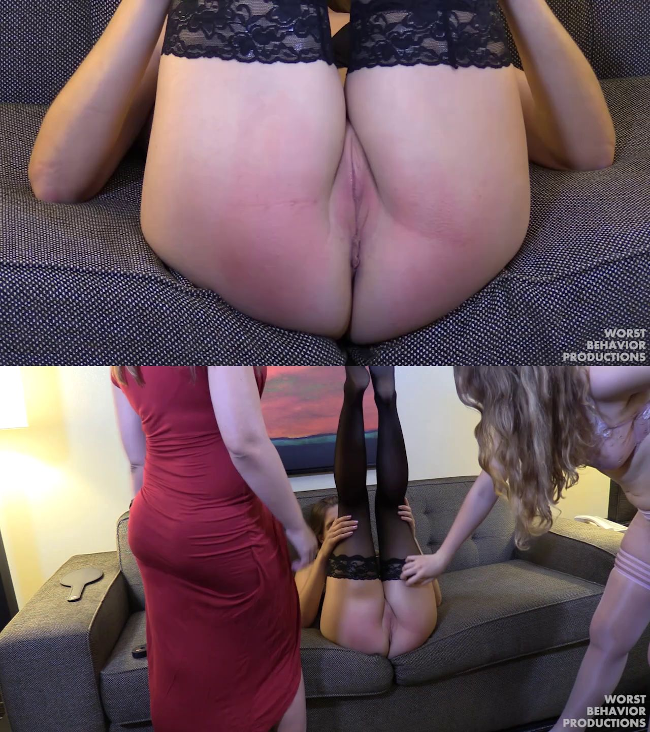 Worst Behavior Productions – MP4/HD – Apricot Pitts, Reyna St Clair, Adriana Evans -Reyna Strapped in Diaper, Apricot Spanked and Paddled – She Lost the Bet Three